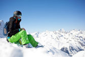 Woman snowboarder, Alps Mountains, — 图库照片