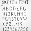 Hand drawn sketch alphabet. Vector illustration. — Stock Vector