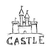 Doodle style castle illustration in vector format — Stock Vector