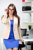 Woman in dress and jacket — Stock Photo