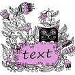 Floral illustration with a pink frame for text and a cat — Stock Vector