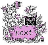 Floral abbildung mit einem rosa rahmen für text und eine katze — Stockvektor