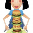 Girl eating hamburger — Stock Vector