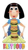 Hamburger yiyen kız — Stok Vektör