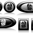 Web button with dragons black and white — Stock Vector #20753661