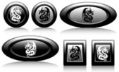 Web button with dragons black and white — Stock Vector