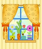 Window with flower pots — Stock Vector