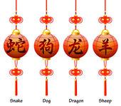 Chinese symbols on the lantern. Signs of the Zodiac. Dog, dragon, snake, sheep. — Stock Vector
