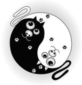 Symbol yin yang with cats — Stock Vector