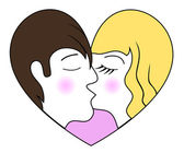 Całując chłopca i dziewczynki w formie serca — Wektor stockowy