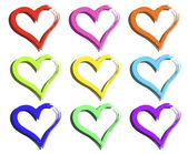 Färgade hjärtan — Stockvektor