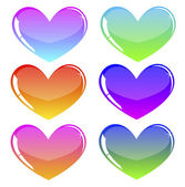 Colored hearts — Vector de stock