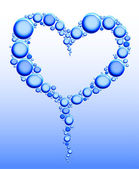 Heart of water bubbles — Stock Vector