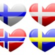 Flags of Scandinavia in the form of heart — Stock Vector