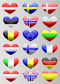 European flags heart — Stock Vector