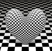 Chess heart on the chess background — Stock Photo
