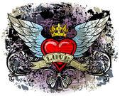 Serce ze skrzydłami — Wektor stockowy