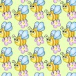 Royalty-Free Stock Obraz wektorowy: Seamless children\'s background with funny bees