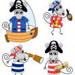 Stock Vector: Mouse pirates