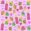 Gifts on a pink background - Stock Vector