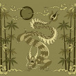 Royalty-Free Stock Vector Image: Dragon with bamboo