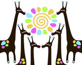 Giraffes with sun — Stock Vector