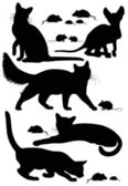 Cats silhouettes — Stock Vector