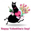 Valentine's day card with cat — Stock Vector