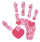 Handprint of hearts — Stock Vector