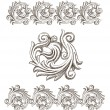 Stock Vector: Baroque elements drawn by hand