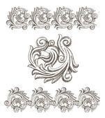 Baroque elements drawn by hand — Stock Vector