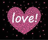 Hearts on a black background — Vector de stock