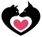 Cat and dog in the heart — Stock Vector