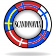 Scandinavian flags in a circle — Stock Vector