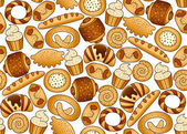 Seamless background with bakery products — Stock Vector