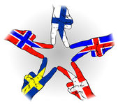 Peace Sign of Scandinavian flags — Stock Vector