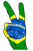 Signo de la paz de la bandera brasileña — Vector de stock