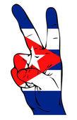Sinal de paz da bandeira cubana — Foto Stock