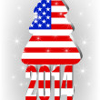 Christmas tree with the American flag — Stock Vector