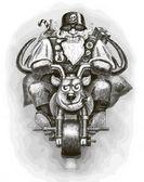 Santa Claus Biker — Stock Vector