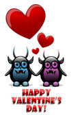 Valentine's day card with devils in love — Stock Vector