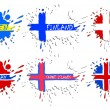 Scandinavian flags as spots — Stock Vector