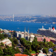 Stock Photo: Aerial view of Bosphorus bridge from Galattower in Istanbul