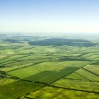 Aerial view of a green rural area under blue sky — Stock Photo