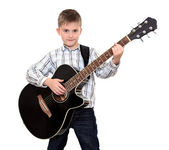 The boy with an acoustic guitar — Stock Photo