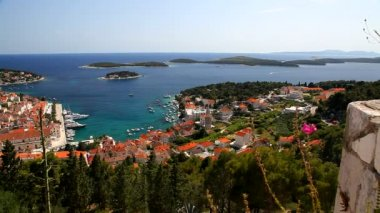 View of the city of Hvar from a fortification. Island Hvar. Croatia. — Stock Video