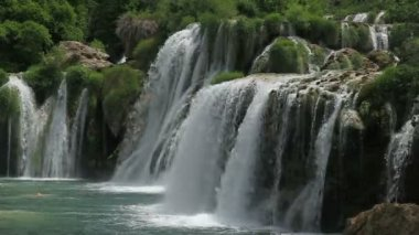 Waterfall in national park Krka, Croatia — Stock Video