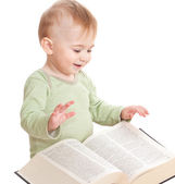 Baby with a book — Stock Photo