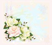 старинный фон с розами. имитация акварели — Cтоковый вектор