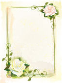 Old style frame with roses. Imitation of watercolor painting — Stock Vector